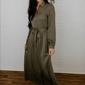 Long Sleeve Collared Dress - Olive